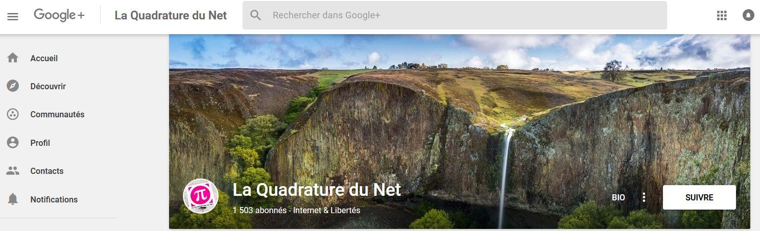 La Quadrature du Net sur Google+