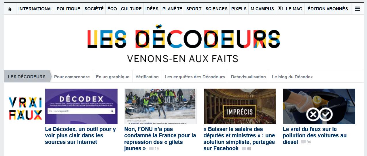Les Décodeurs, le fact checking du journal Le Monde animé par Samuel Laurent