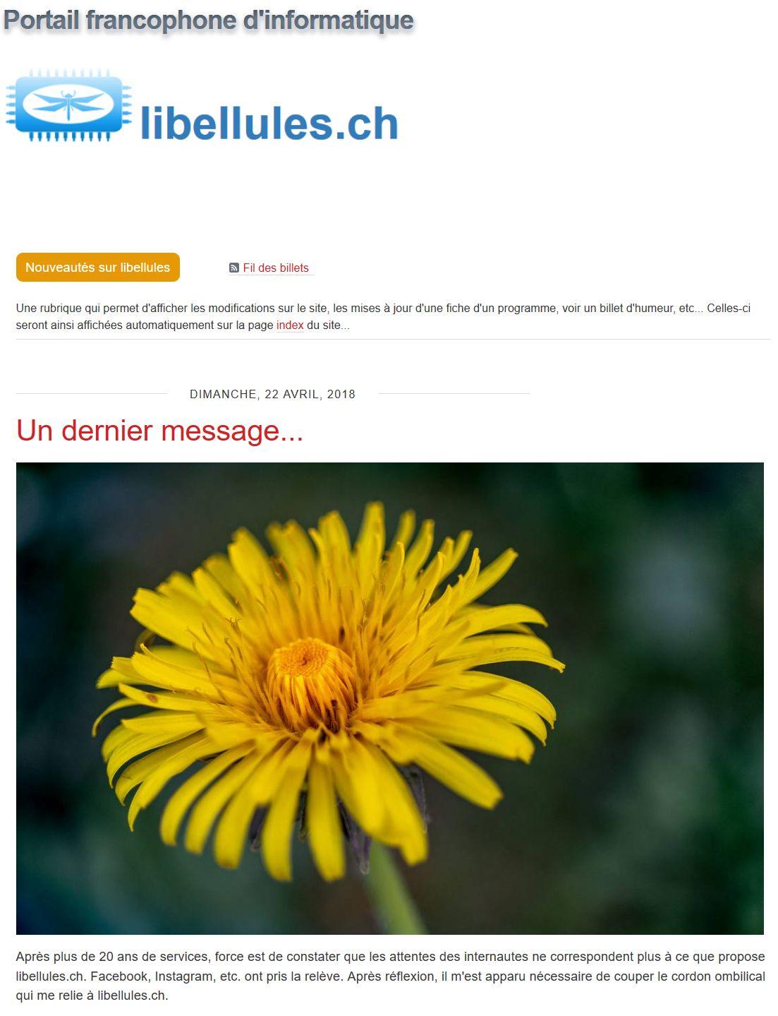 Fin de Libellules.ch