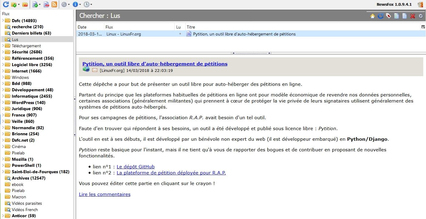 Les contenus de LinuxFr.org seulement visibles à partir de mon agrégateur RSS NewsFox