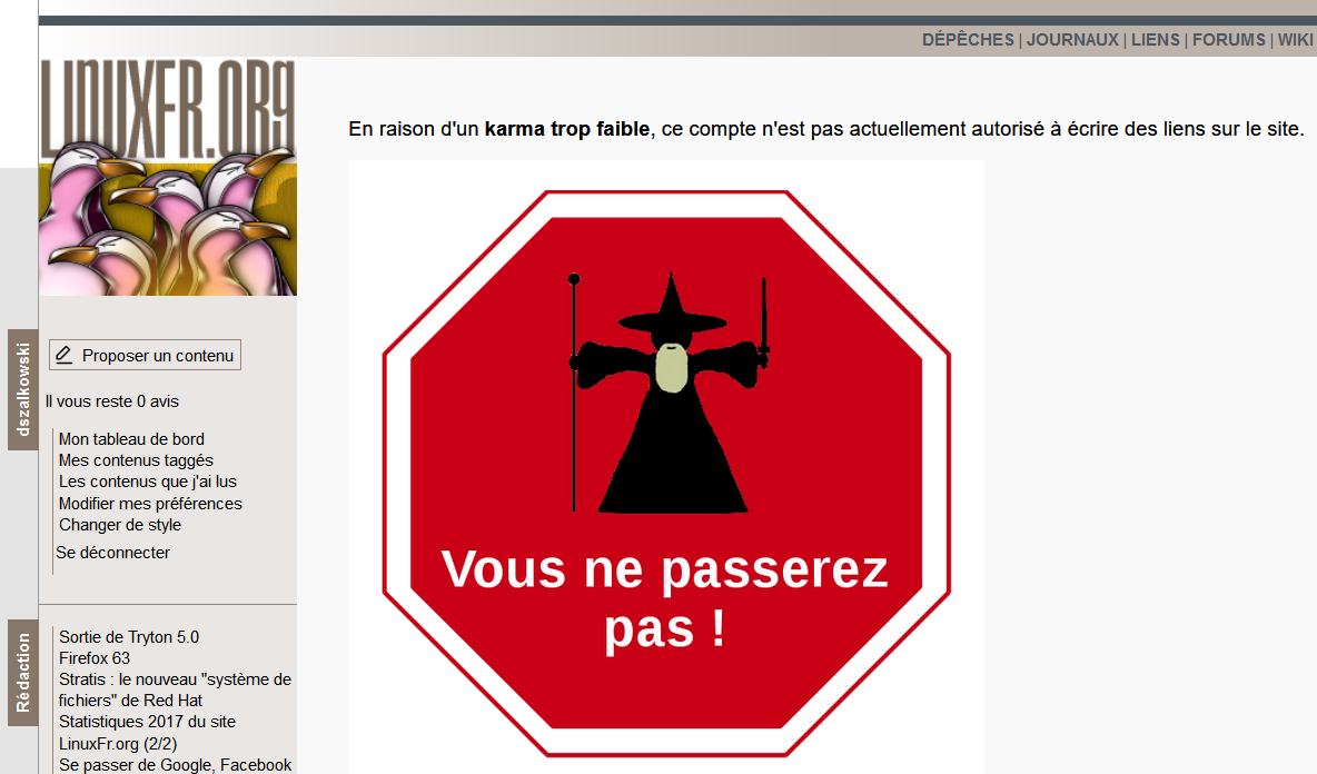 LinuxFr.org : mon Karma trop faible pour publier !