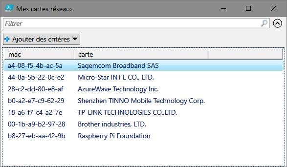 Récupérer les constructeurs des périphériques Ethernet de votre réseau local