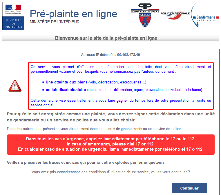 Pré-plainte en ligne - Ministère de l'Intérieur