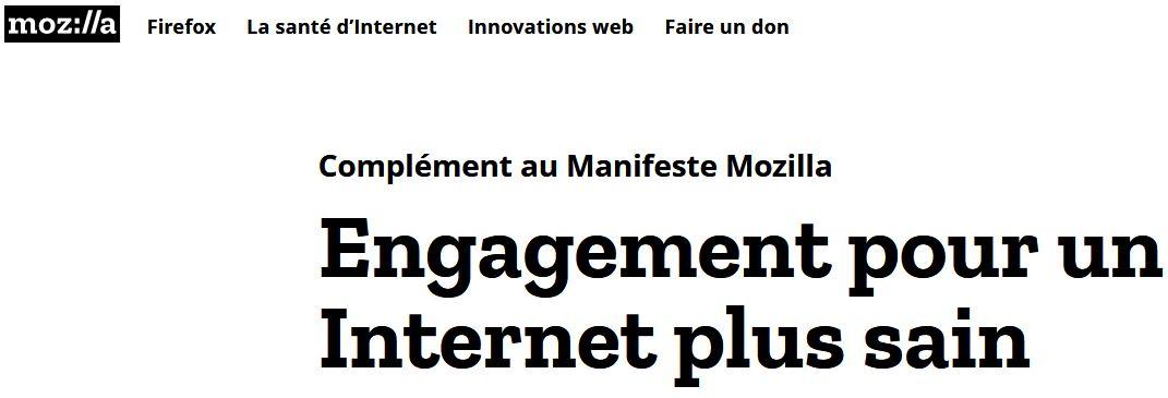 Manifeste Mozilla > Engagement pour un Internet plus sain