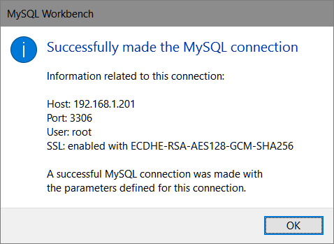 MySQL Workbench > Manage Server Connections > SSL > Test Connexion