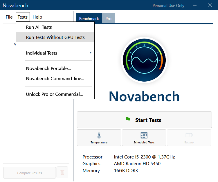 Novabench, logiciel de benchmarking pour Windows