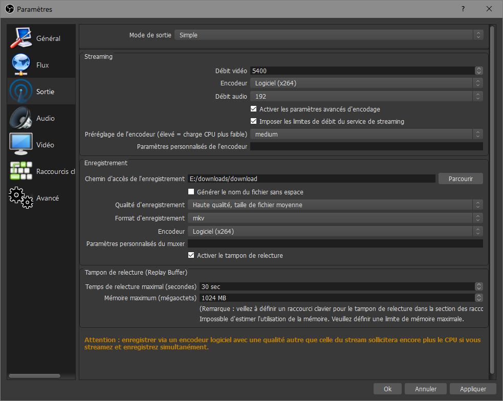 OBS > Fichier > Paramètres > Sortie