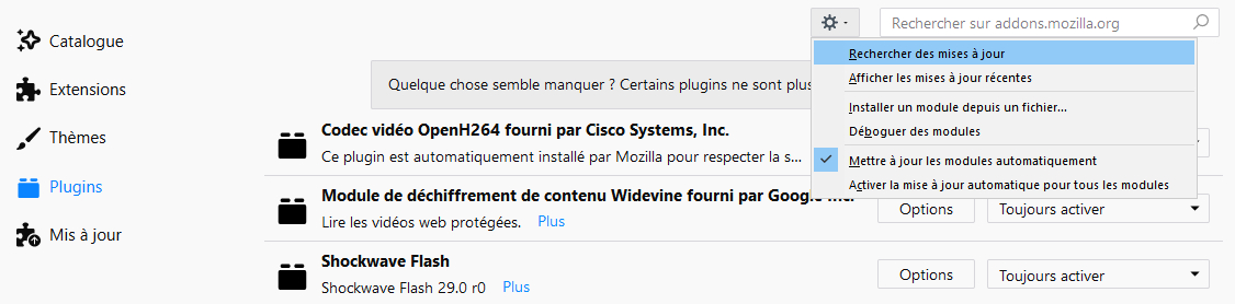 Réinstallation du plugin Widevine