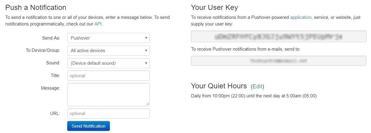 Création d'un compte Pushover