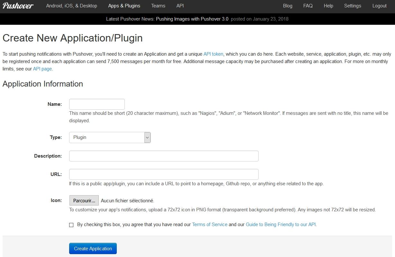 Création de l'application DSFC sur Pushover