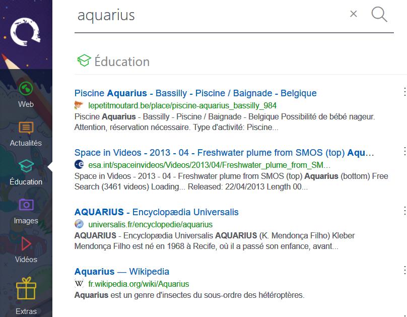 Recherche sur le mot aquarius dans Qwant Junior
