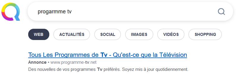 Recherche dans Qwant sur Programme TV