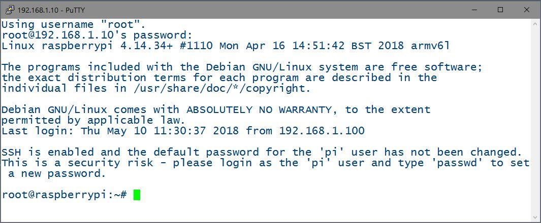 Connexion à Raspbian via Putty après avoir configuré le serveur OpenSSH