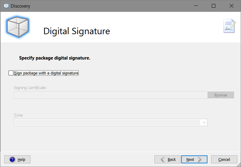Smart Packager > Discovery > Digital Signature
