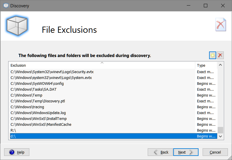 Smart Packager > Discovery > File Exclusions