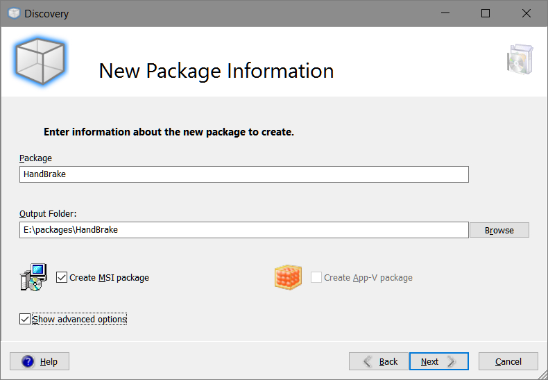 Smart Packager > Discovery > New Package Information