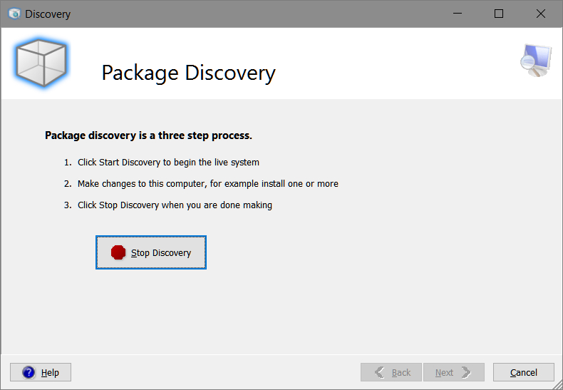 Smart Packager > Discovery > Package Discovery > Stop Discovery