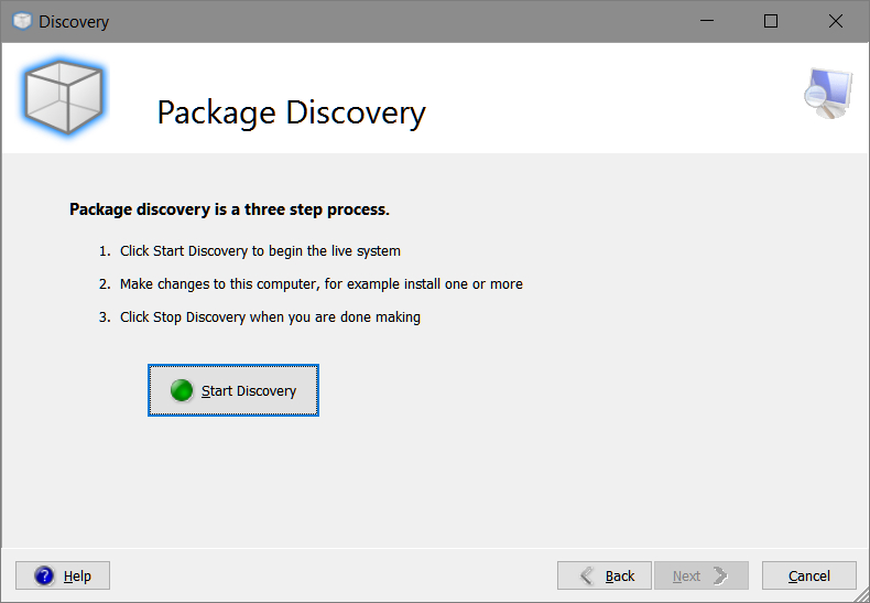 Smart Packager > Discovery > Package Discovery > Start Discovery