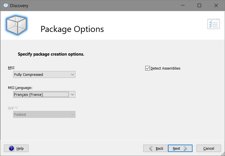 Smart Packager > Discovery > Package Options