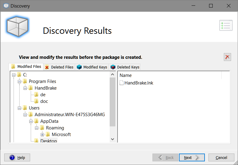 Smart Packager > Discovery > Discovery Results