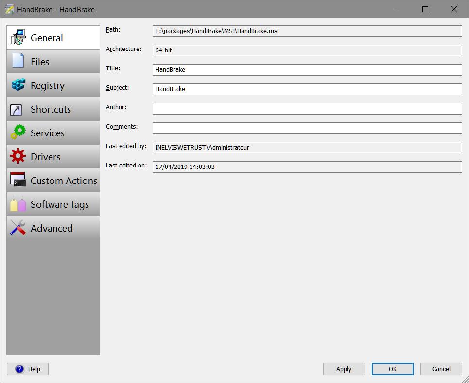 Smart Packager > Package Editor > Edit Package > General
