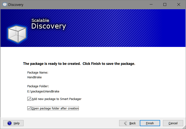 Smart Packager > Discovery > Finish