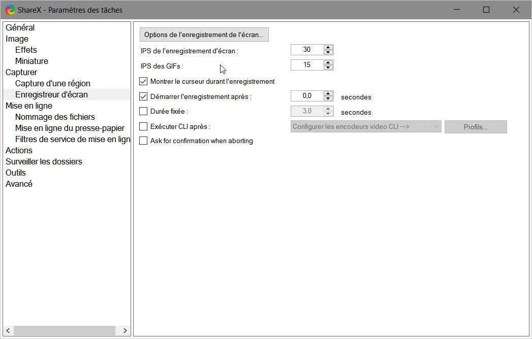 ShareX > Paramètres des tâches > Enregistreur d'écrans > Options de l'enregistrement de l'écran > Durée fixée