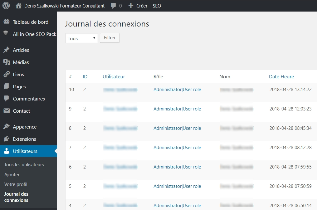 Simple Login Log > Journal de connexion