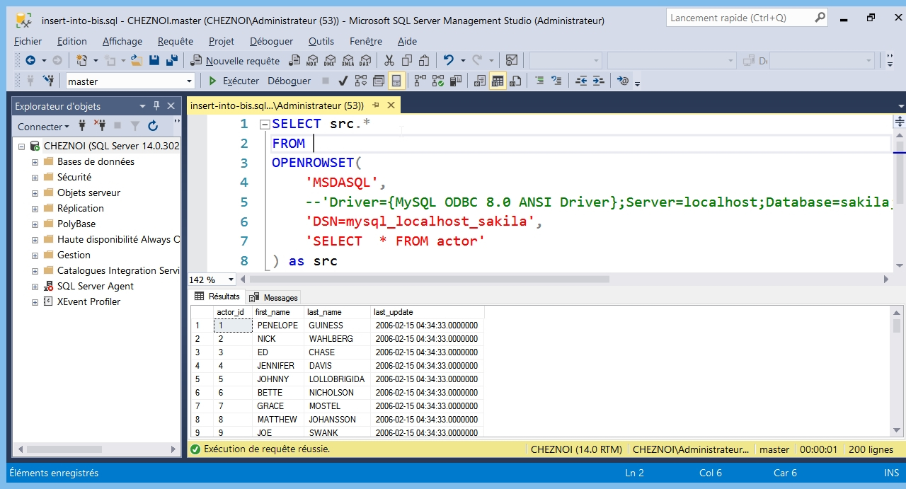 SQL Server : un DataWare House avec les Ad Hoc Distributed Queries
