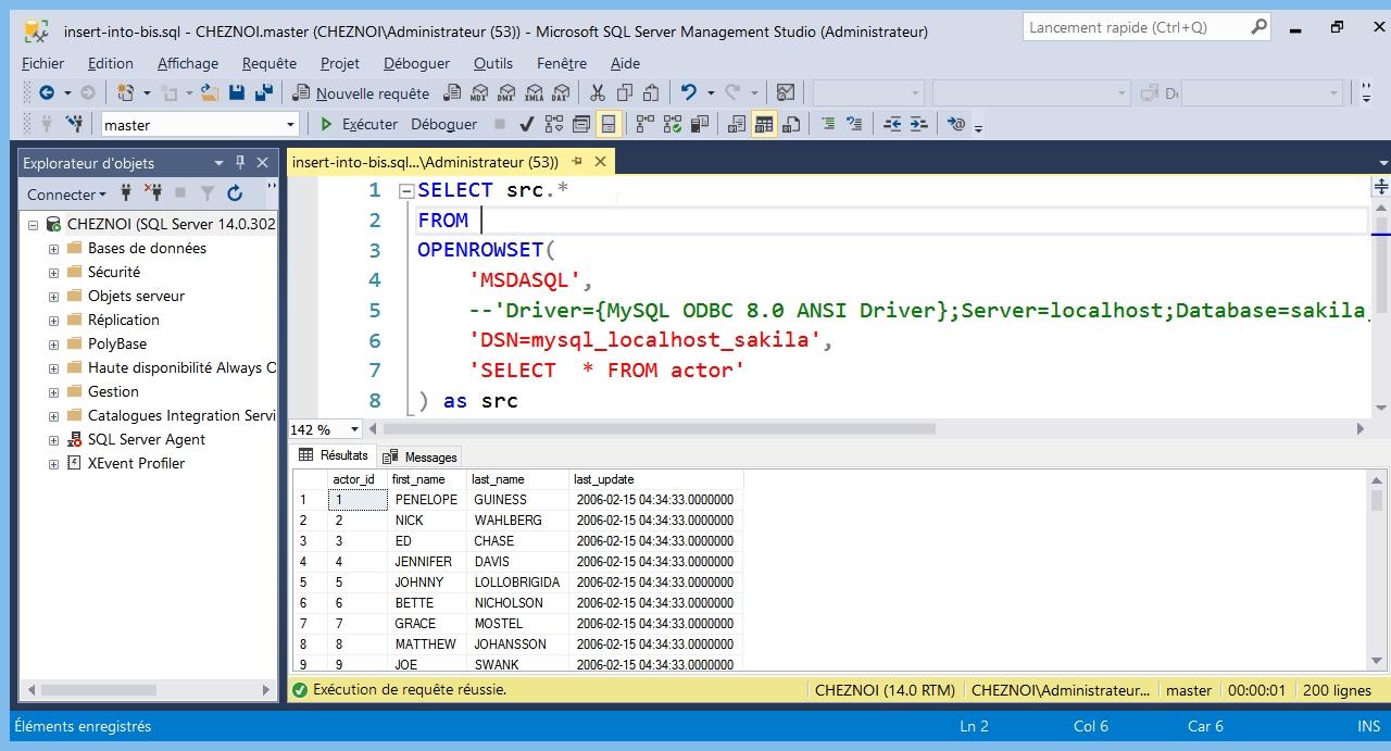 SQL Server : un DataWare House avec les Ad Hoc Distributed Queries