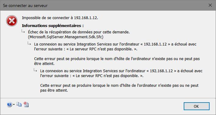 SQL Server 2017 pour Linux > Connexion à Integration Services impossible