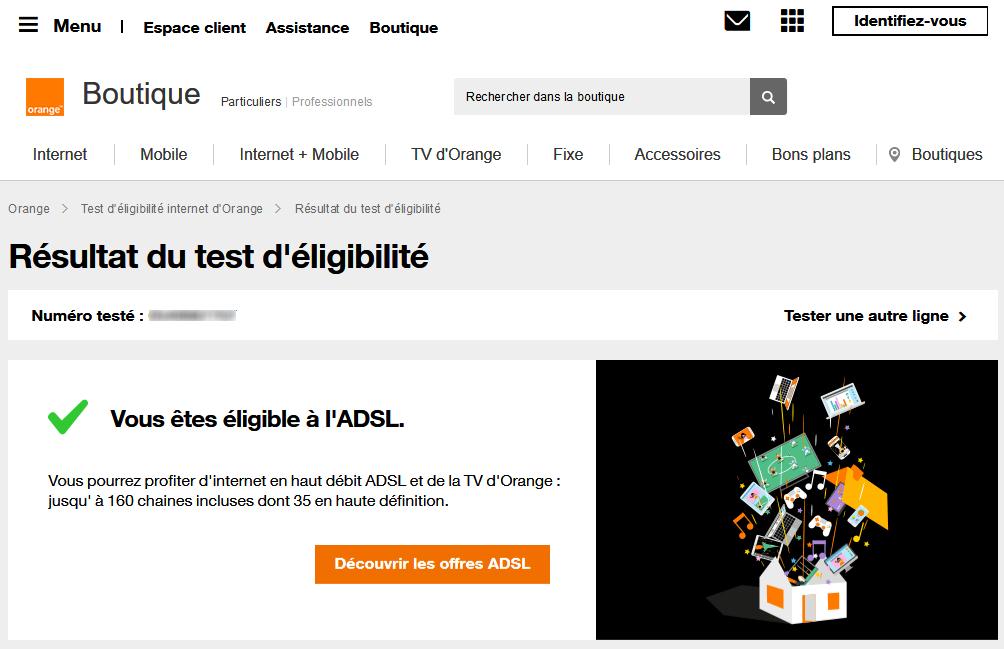Test d'éligibilité ADSL chez Orange