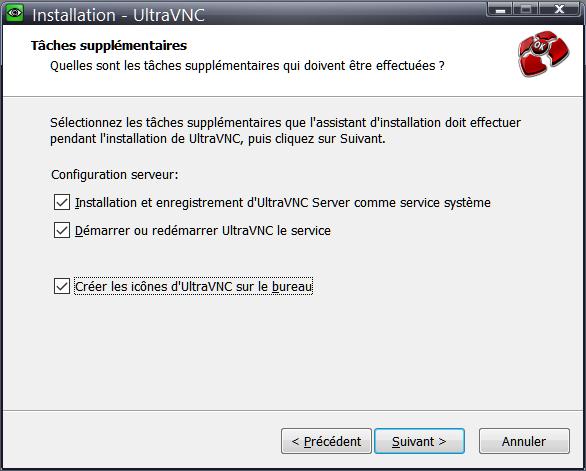 UltraVNC > Installation > Installer en tant que service système