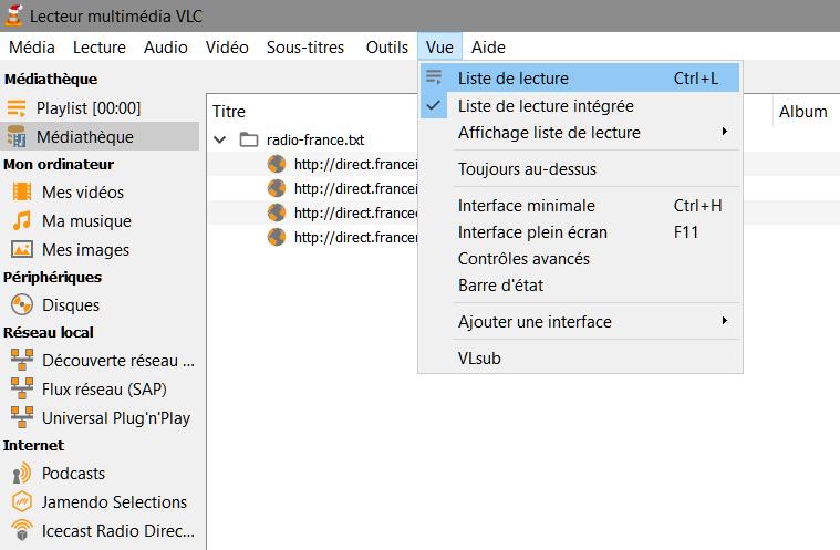 VLC > Vue > Liste de lecture > Médiathèque