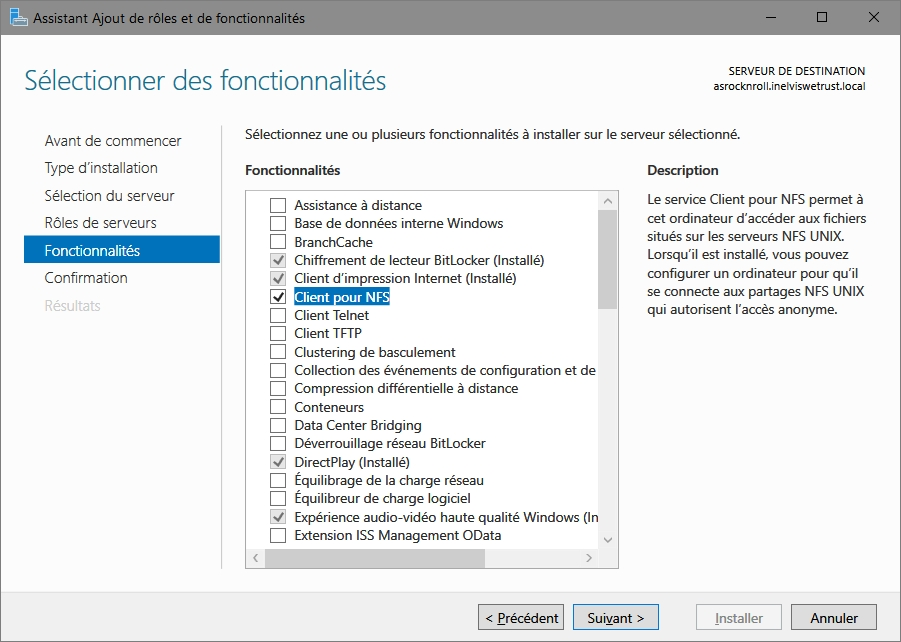 Installer le client NFS sur Windows Server 2016