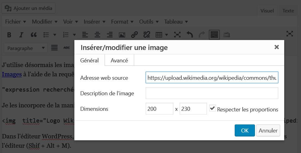 WordPress > Insérer/modifier une image